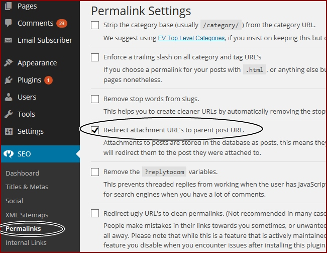 redirect image URL to post URL option in wordpress Yoast SEO