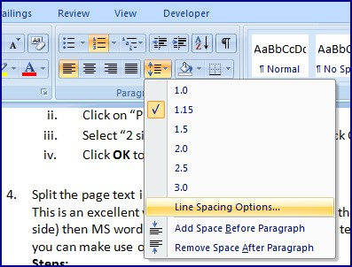 Line-spacing-option-MS-word-2007