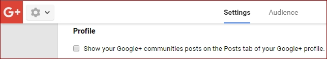 turn off community posts on Google plus profile