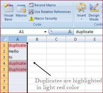 finding and highlighting duplicates usnig VBA macro