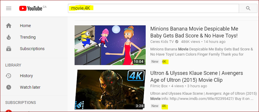 search query to get 4K videos only on YouTube