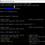 image of command prompt showing ip address of network router