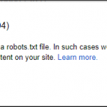 Google webmaster tools message when robots.txt file not found on your domain