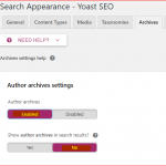 Yoast settings to fix author page redirect issue