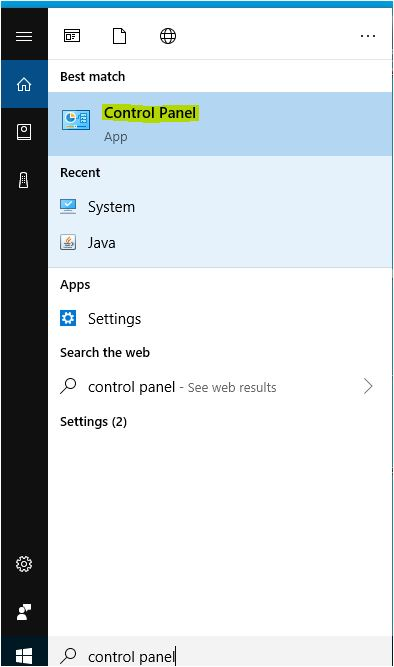 open-control-panel-using-windows-start-button