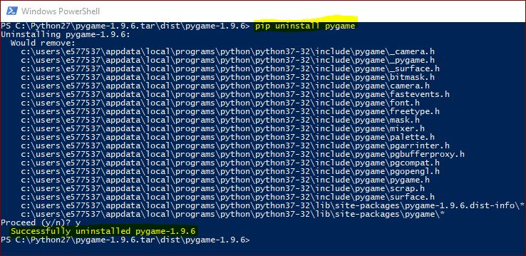 uninstalling-pygame-using-pip-powershell