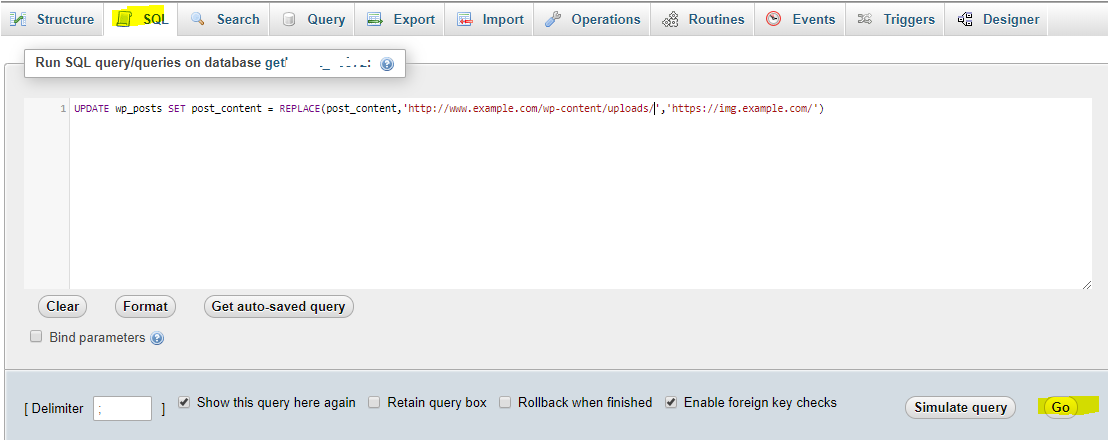 image-URL-update-sql-query-execution-phpMyAdmin
