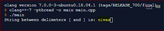 CPP output to extract a string between two delimiters