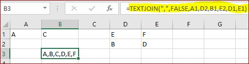 example of combine random cells in excel separated by comma