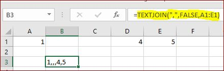 example of textjoin function, inclue empty cells
