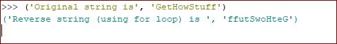 reverse a string in python using for loop output