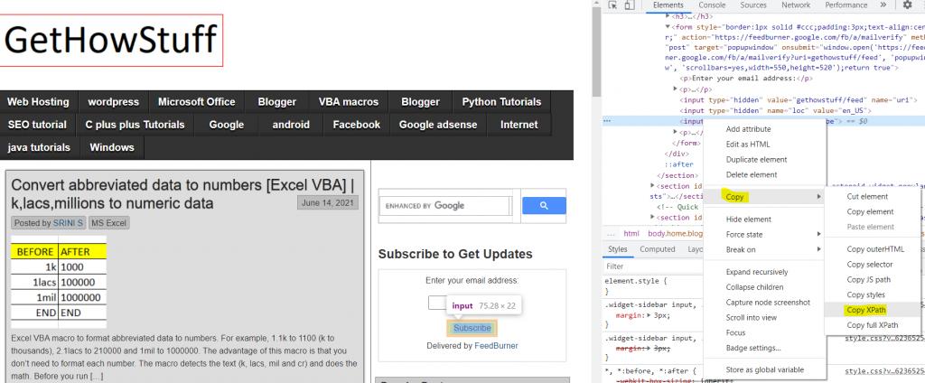 photo showing 'Copy XPath' on Chrome